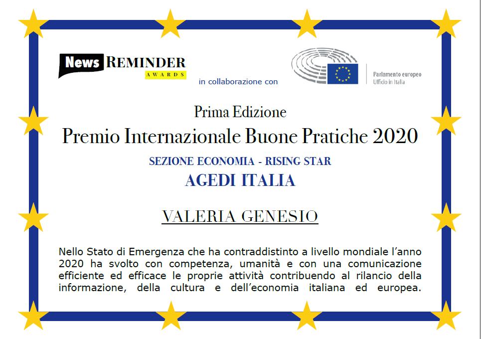 valeria genesio rising star premio buone pratiche 2020